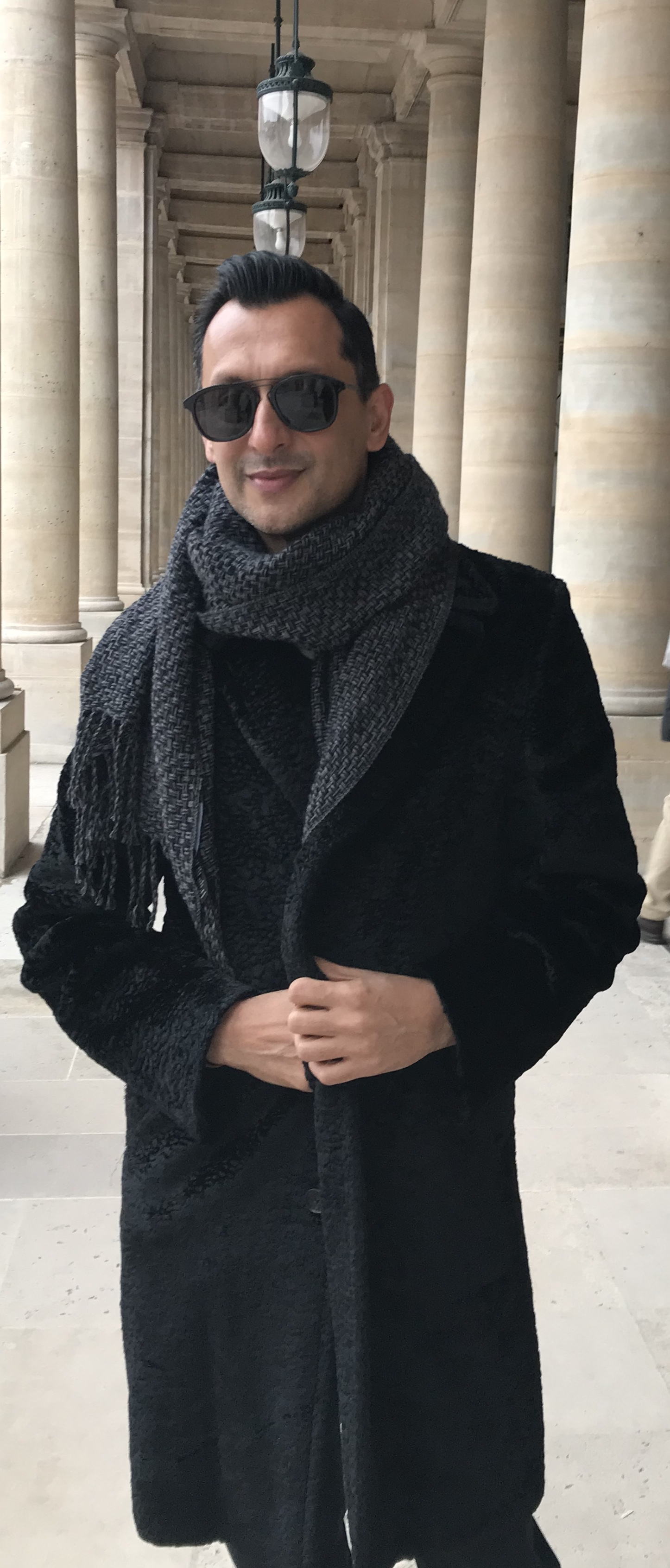 In Nicole Farhi astrakhan at the Palais Royal